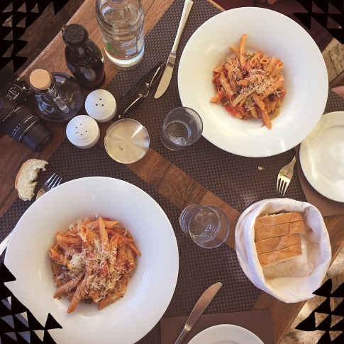Penne with fresh vegetables